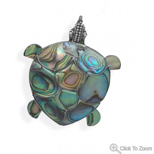 Paua Shell Turtle Pendant/Pin